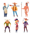 cowboys western wildlife country characters vector image