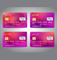 credit cards set with colorful gradient design vector image