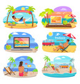 distants work and summer freelance banners vector image vector image