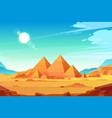 egyptian pyramids landscape cartoon vector image