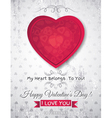 grey grunge background with red valentine heart vector image vector image