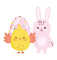 happy easter chicken and rabbit with dotted egg vector image