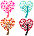 heart shaped tree with birds vector image vector image