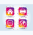 home main page and globe signs printer chat vector image