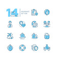 insurance - set of line design style icons vector image vector image