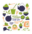 many matcha tea products matcha powder mochi vector image