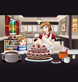 mother daughter decorating a cake vector image vector image