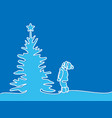 new year card boy looking at christmas tree vector image