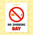 no smoking day concept background flat style vector image