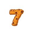 number 7 cookies font oatmeal biscuit alphabet vector image vector image