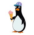 penguin and ice cream vector image vector image