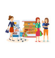 people at store purchased merchandise walk mall vector image vector image