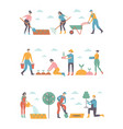 people working in garden design elements and icons vector image vector image