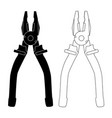 pliers outline black and white drawings vector image