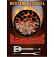 retro poster with hot coals for barbecue vector image vector image