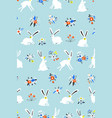 seamless pattern with cute white bunnies in the vector image