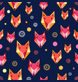 seamless pattern with fox portrait vector image vector image