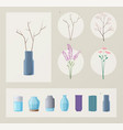 set of flowers and vases vector image vector image