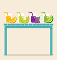 Set Of Fruit Juice Glasses On Wooden Table vector image
