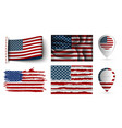 set of usa flags collection isolated vector image