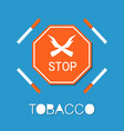 stop red sign two crossed hands smoking forbidden vector image vector image