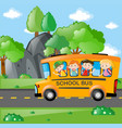 students riding on school bus to school vector image vector image