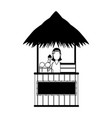 sugar cotton cart in black and white vector image vector image
