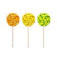swirl lollipops spiral sucker candy set vector image vector image