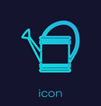 turquoise line watering can icon isolated on blue vector image vector image