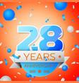 twenty eight years anniversary celebration vector image vector image