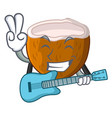 with guitar cartoon beverage coconuts on the beach vector image vector image