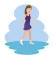 young woman practicing skate on ice vector image vector image
