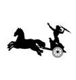 zeus jupiter god chariot lightning silhouette vector image vector image