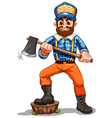 A lumberjack stepping on a stump vector image