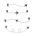 airplane in dotted line vector image