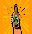 beer bottle in hand retro comic pop art poster vector image vector image