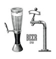 beer tower and beer dispenser vintage hand draw vector image vector image