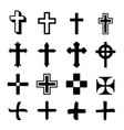 black crosses icon set on white background vector image vector image