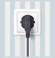 black plug inserted in a wall socket on backdrop vector image vector image