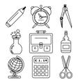Black school goods black ink icons Part 1 vector image vector image