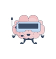 Brain Playing Virtual REality Video Games Comic vector image vector image