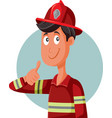cartoon fireman with thumbs up making ok gesture vector image vector image
