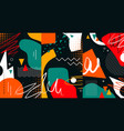 creative doodle art header with different shapes vector image