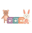 cubes blocks with bear and teddy toys vector image