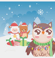 cute owl sheep and bear snowflakes winter trees vector image