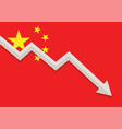 economic crisis with china flag vector image
