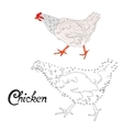 Educational game connect dots to draw chicken bird vector image