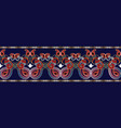 ethnic paisley border seamless pattern vector image