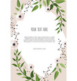 floral wreath with green leaves frame border with vector image vector image