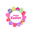 happy easter collection of easter eggs with vector image vector image